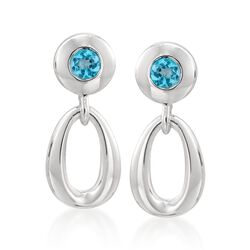 Zina Sterling Silver .60 ct. t.w. Blue Topaz Oval Loop Drop Earrings, , default