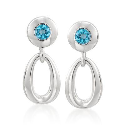 Zina Sterling Silver .60 ct. t.w. Blue Topaz Oval Loop Drop Earrings, , default