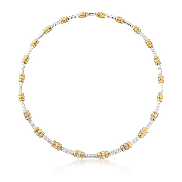 "C. 1990 Vintage 2.65 ct. t.w. Diamond Round Link Station Necklace in 18kt Two-Tone Gold. 17"", , default"