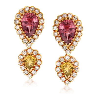 C. 1980 Vintage 1.80 ct. t.w. Pink Tourmaline, .60 ct. t.w. Simulated Yellow Tourmaline and 1.00 ct. t.w. Diamond Drop Earrings in 18kt Yellow Gold