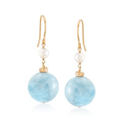 35.00 ct. t.w. Milky Aquamarine and 4-5mm Cultured Pearl Drop Earrings in 18kt Gold Over Sterling