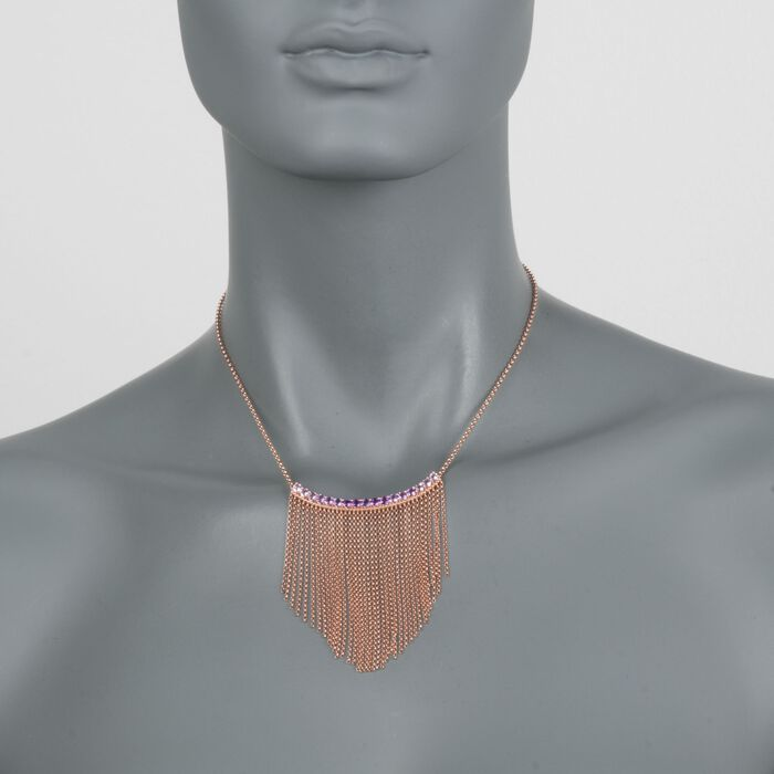 "1.50 ct. t.w. Tonal Amethyst Fringe Necklace in 18kt Rose Gold Over Sterling. 18"", , default"