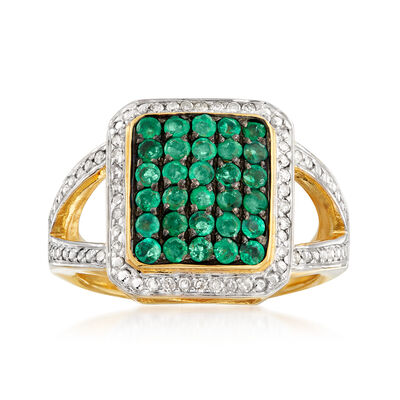 1.00 ct. t.w. Emerald and .17 ct. t.w. Diamond Ring in 18kt Gold Over Sterling