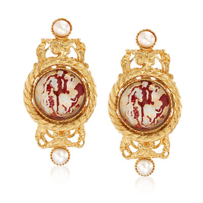 Italian Cultured Pearl and Red Enamel Drop Earrings in 18kt Gold Over Sterling, , default