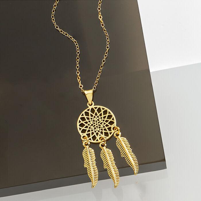 14kt Yellow Gold Dreamcatcher Pendant Necklace