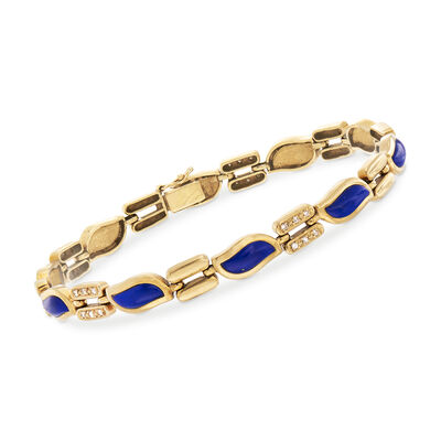C. 1980 Vintage Lapis and .25 ct. t.w. Diamond Bracelet in 18kt Yellow Gold, , default