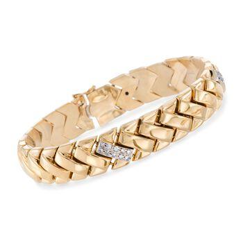 "C. 1990 Vintage 18kt Yellow Gold Link Bracelet With .60 ct. t.w. Diamonds. 7.25"", , default"