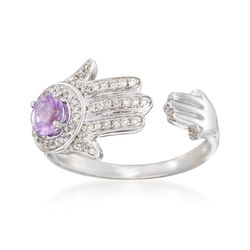 .30 Carat Amethyst and .15 ct. t.w. Diamond Hamsa Hand Cuff Ring in Sterling Silver, , default