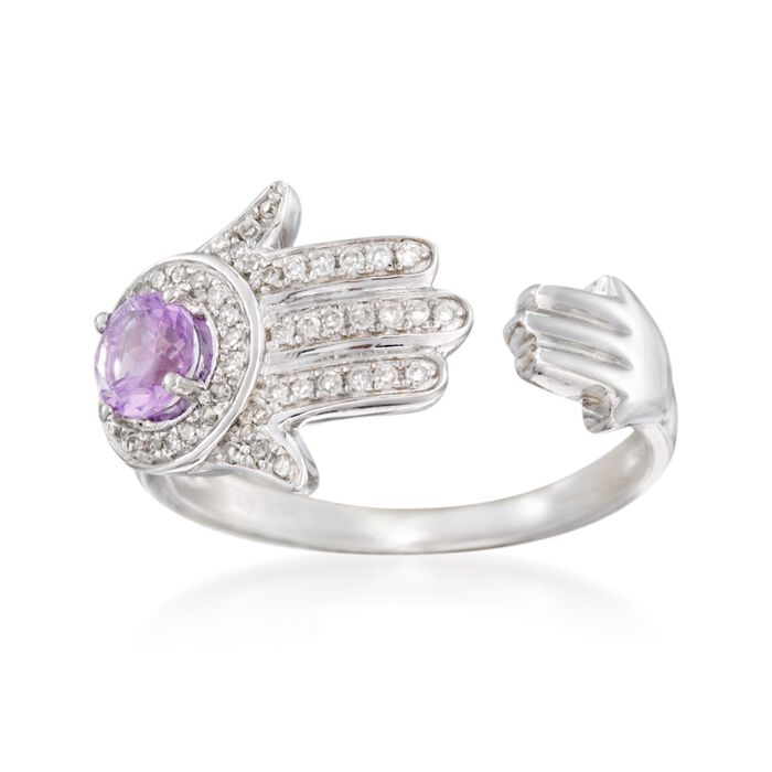 .30 Carat Amethyst and .15 ct. t.w. Diamond Hamsa Hand Cuff Ring in Sterling Silver. Size 6, , default