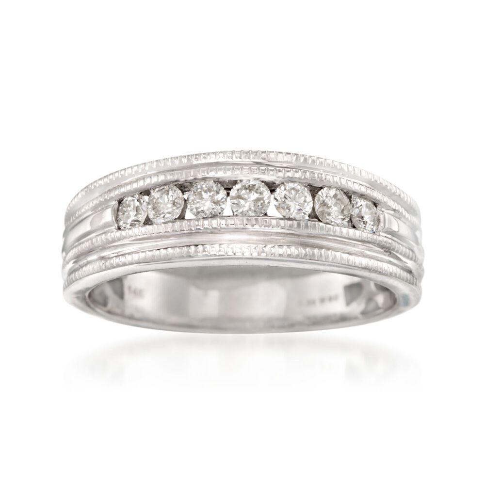 Men S 50 Ct T W Diamond Milgrain Wedding Ring In 14kt White