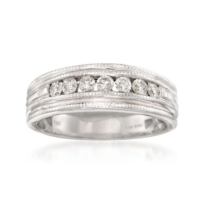 Men's .50 ct. t.w. Diamond Milgrain Wedding Ring in 14kt White Gold