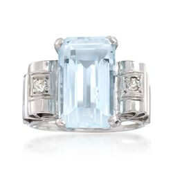 C. 1950 Vintage 6.50 Carat Aquamarine and .15 ct. t.w. Diamond Ring in 18kt White Gold. Size 7.5, , default