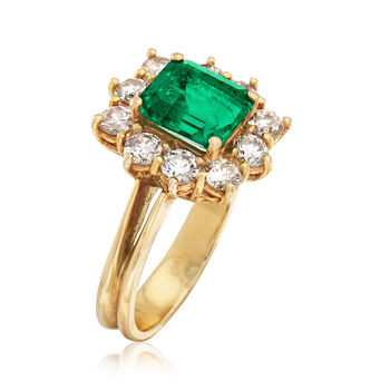 C. 1990 Vintage 2.15 Carat Emerald and 1.20 ct. t.w. Diamond Ring in 18kt Yellow Gold. Size 6.5, , default