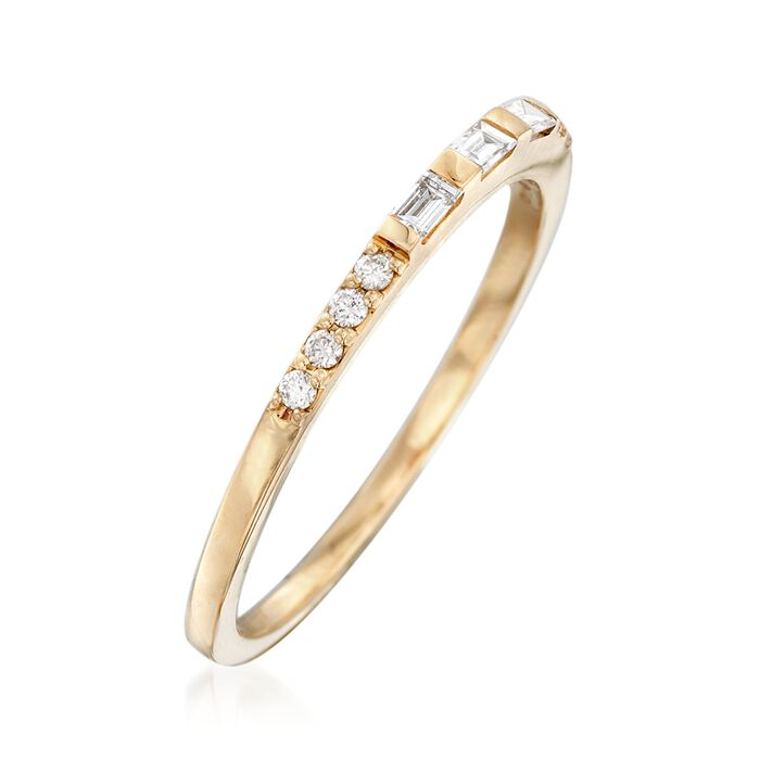 .16 ct. t.w. Baguette and Round Diamond Ring in 14kt Yellow Gold