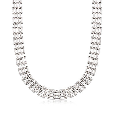 Sterling Silver Multi-Row Oval-Link Necklace