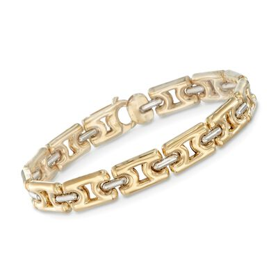 18kt Yellow Gold Link Bracelet with 18kt White Gold Bars, , default