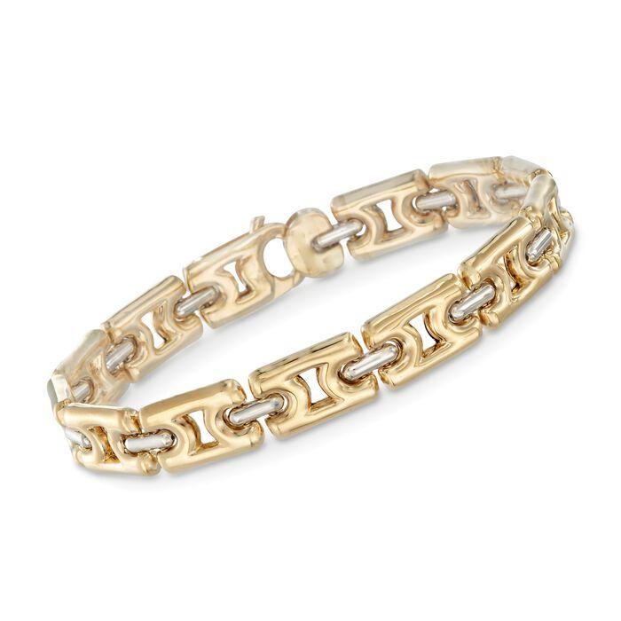"18kt Yellow Gold Link Bracelet with 18kt White Gold Bars. 7.5"", , default"