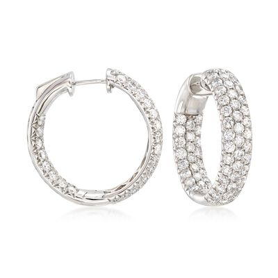 4.00 ct. t.w. Diamond Inside-Outside Hoop Earrings in 14kt White Gold, , default