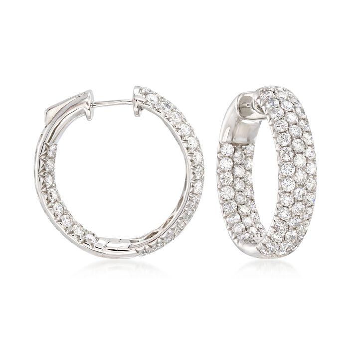 """4.00 ct. t.w. Diamond Inside-Outside Hoop Earrings in 14kt White Gold. 7/8"""", , default"""