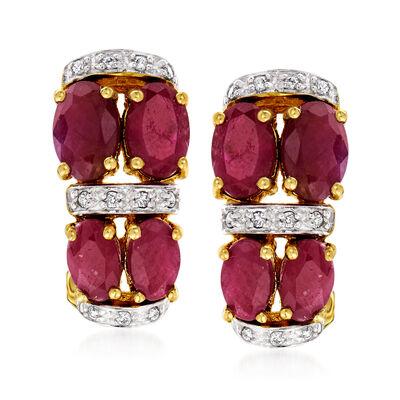 4.10 ct. t.w. Ruby Earrings in 14kt Yellow Gold