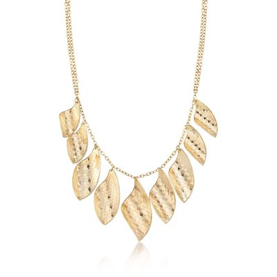 Italian 14kt Yellow Gold Faceted Multi-Leaf Necklace, , default