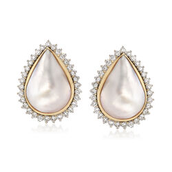 C. 1960 Vintage Mabe Pearl and 1.50 ct. t.w. Diamond Clip-On Earrings in 18kt Yellow Gold, , default