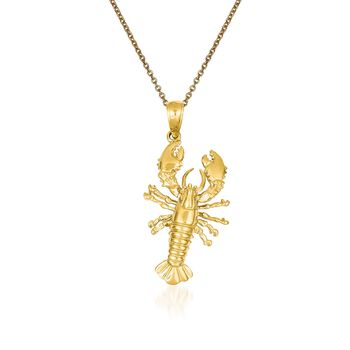"14kt Yellow Gold Lobster Pendant Necklace. 18"", , default"