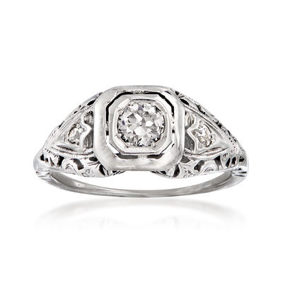 C. 1940 Vintage .30 ct. t.w. Diamond Ring in 18kt White Gold