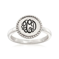 Sterling Silver Three-Initial Beaded Disc Ring, , default