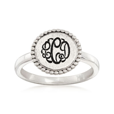 Sterling Silver Monogram Beaded Disc Ring, , default