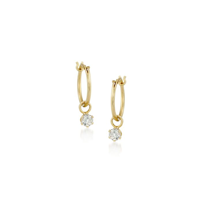 "Child's .20 ct. t.w. CZ Hoop Earrings in 14kt Yellow Gold. 5/8"", , default"