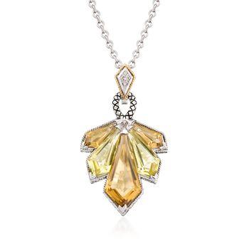 "Andrea Candela 19.25 ct. t.w. Lemon and Cognac Quartz Necklace With Diamonds in Sterling Silver. 16"", , default"