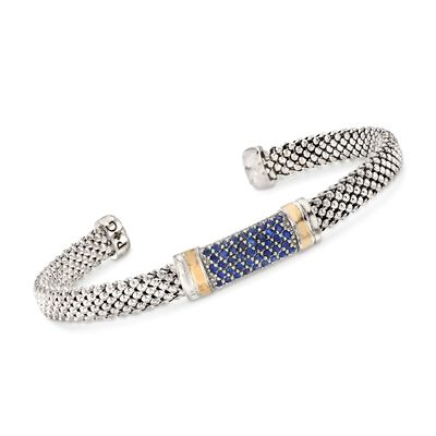 "Phillip Gavriel ""Popcorn"" .84 ct. t.w. Sapphire Cuff Bracelet in Sterling Silver and 18kt Gold"
