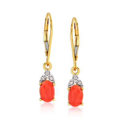 Coral Drop Earrings with Diamond Accents in 14kt Yellow Gold