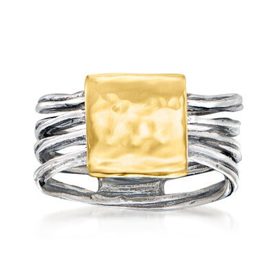 Sterling Silver with 14kt Yellow Gold Multi-Row Curved-Top Ring