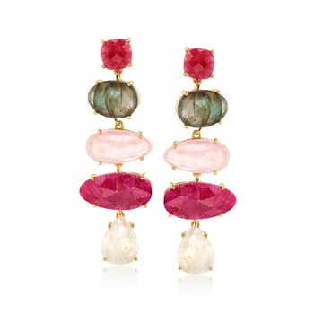 Rose-Cut Multi-Stone Drop Earrings in 18kt Gold Over Sterling, , default
