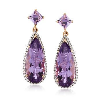 11.40 ct. t.w. Amethyst and .46 ct. t.w. Diamond Drop Earrings in 14kt Yellow Gold, , default