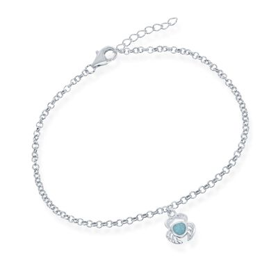 Larimar Crab Charm Anklet in Sterling Silver
