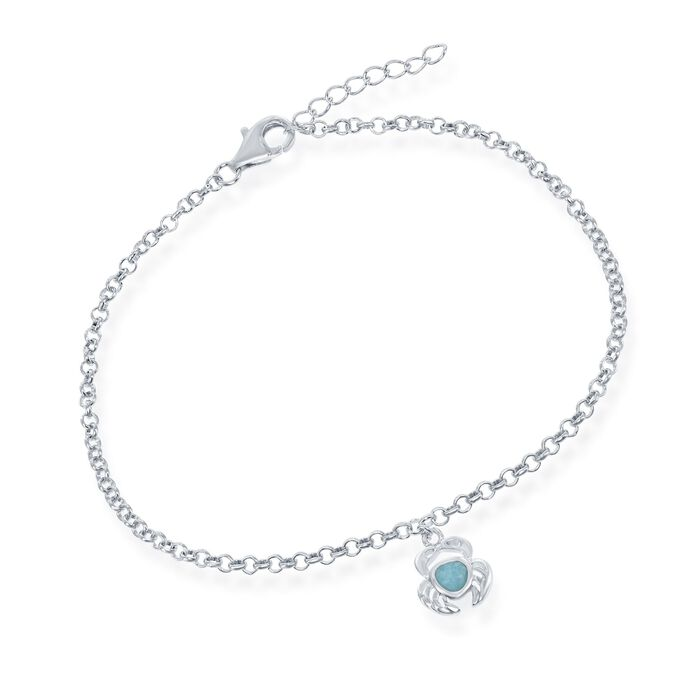 Larimar Crab Charm Anklet in Sterling Silver. 9""