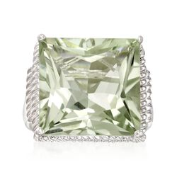 16.00 ct. t.w. Princess-Cut Green Amethyst Ring in Sterling Silver, , default