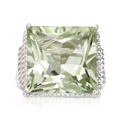 16.00 ct. t.w. Princess-Cut Green Prasiolite Ring in Sterling Silver, , default