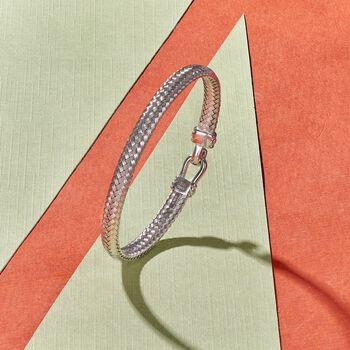 "Italian Sterling Silver Horsebit Bracelet. 7.5"", , default"