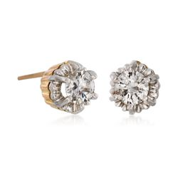 C. 1970 Vintage .70 ct. t.w. Diamond Stud Earrings in Platinum and 14kt Yellow Gold, , default