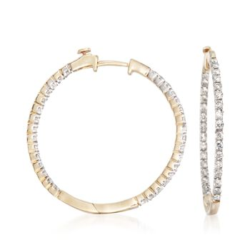 "1.00 ct. t.w. Diamond Inside-Outside Hoop Earrings in 14kt Yellow Gold. 1 1/4"", , default"