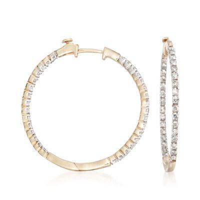 1.00 ct. t.w. Diamond Inside-Outside Hoop Earrings in 14kt Yellow Gold, , default
