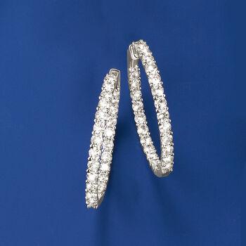 """10.00 ct. t.w. Diamond Inside-Outside Hoop Earrings in 14kt White Gold. 1 1/2"""", , default"""