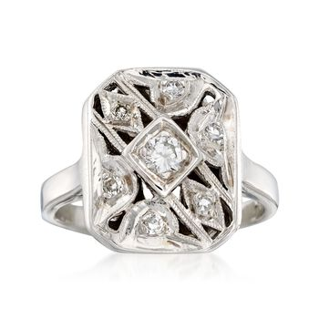 C. 1950 Vintage .12 ct. t.w. Diamond Milgrain Ring in 14kt White Gold. Size 7.75, , default