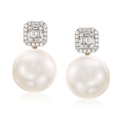12-14mm Cultured Pearl and .42 ct. t.w. Diamond Earrings in 18kt White Gold, , default