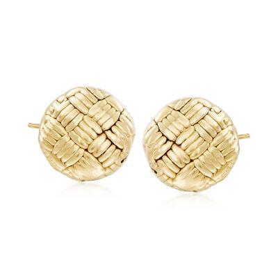 Italian 18kt Yellow Gold Basketweave Earrings, , default
