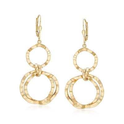 14kt Yellow Gold Wavy Open-Circle Drop Earrings, , default